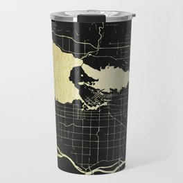 Vancouver Canada Black and Gold Map Travel Mug