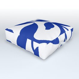 PALM LEAF VINE SWIRL BLUE AND WHITE PATTERN Outdoor Floor Cushion