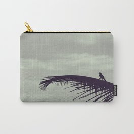 Minimalist beach | Silhouette of a palm tree leaf and a bird | Nature Photography Carry-All Pouch