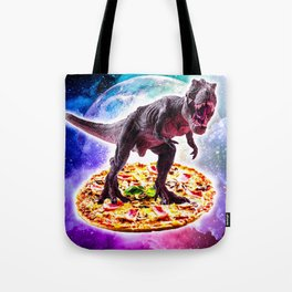 Tyrannosaurus Rex Dinosaur Riding Pizza In Space Tote Bag