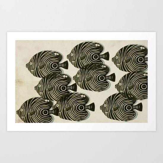Shoal of Black Fish Art Print