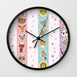 Set of funny animals muzzle seamless pattern with stars, pink lilac blue stripes. Vector Wall Clock