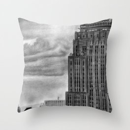Empire State Building Pencil Drawing Throw Pillow