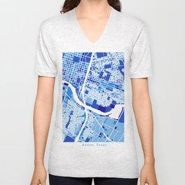 Austin Texas City Map Blue Unisex V-Neck