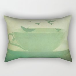 Morning Flight Coffee Tea Bird Flying Dream Surreal Home Kitchen Art Rectangular Pillow