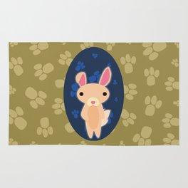 Rabbit with Paw Print Rug