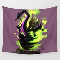maleficent Wall Tapestries featuring Maleficent by Jennifer Ely