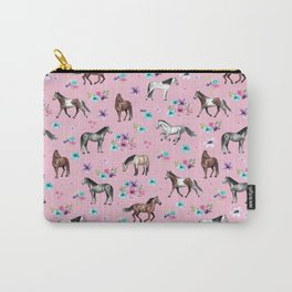 Horses & Flowers, Pink Pattern, Horse Illustration, Little Girls Room, Watercolor Carry-All Pouch