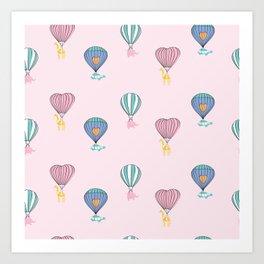 Sweet balloon dreams - pink Art Print