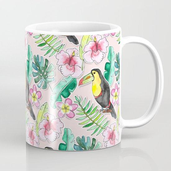 Tropical Toucan Paper-Cut Floral Coffee Mug