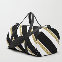 Black Gold White Stripe Pattern 1 Duffle Bag
