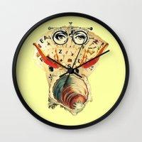 psychology Wall Clocks featuring Mystical uterus by Laura Nadeszhda