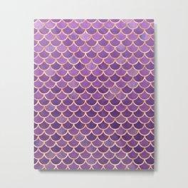Mermaid Scales Pattern in Purple and Rose Gold Metal Print