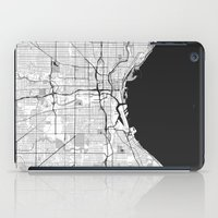 milwaukee iPad Cases featuring Milwaukee Map Gray by City Art Posters