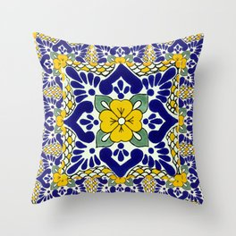 talavera mexican tile in yellow and blu Throw Pillow