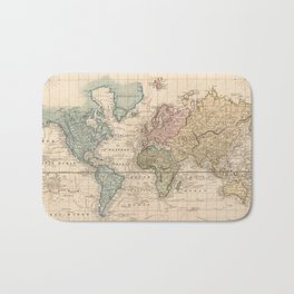 Vintage Map of The World (1823) 2 Bath Mat