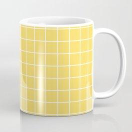 Naples yellow - yellow color - White Lines Grid Pattern Coffee Mug