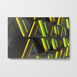 Pattern of grey triangle prisms with yellow glowing lines Metal Print