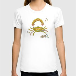 cancer the crab caring and good vibes retro zodiac art by surfy birdy T-shirt