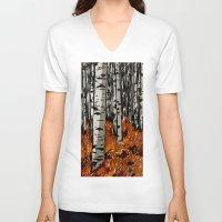birch V-neck T-shirts featuring Birch by LeahOwen