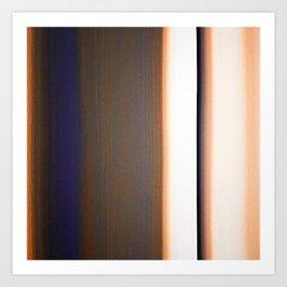 Brown White Dark Blue Ombre Stripes Art Print