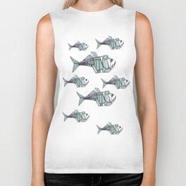 aggressive fish skeleton Biker Tank