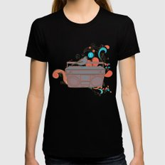 Retro Music MEDIUM Womens Fitted Tee Black