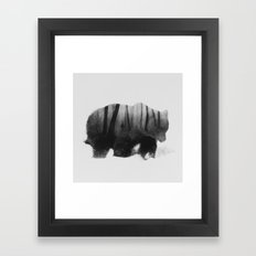 Watched by Grizzly Bear (black & white version) Framed Art Print