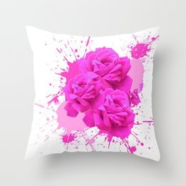 CERISE PINK ROSE PATTERN WATERCOLOR SPLATTER Throw Pillow