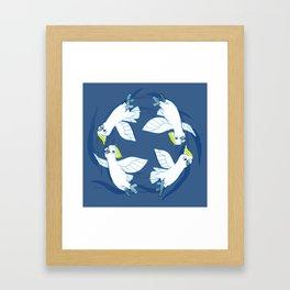 Cockatoo Angels (Blue) Framed Art Print