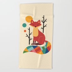 Rainbow Fox Beach Towel