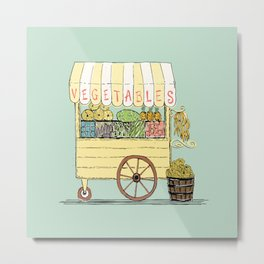 Veggie Cart on Mint Metal Print