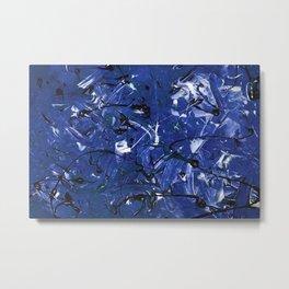 Abstract #350 Blue Chaos Metal Print