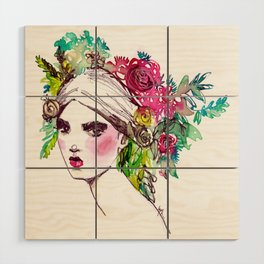 #Floral fashion portrait Wood Wall Art
