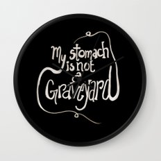 My Stomach is not a Graveyard Inverse Colors Wall Clock