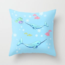 Narwhal Buddies Throw Pillow