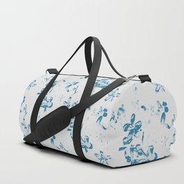 Blue Jasmine Burlap Print Duffle Bag