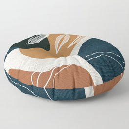 Leafy Lane in Navy and Tan 3 Floor Pillow