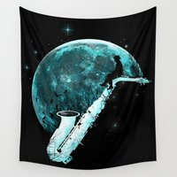 saxophone Wall Tapestries featuring Catching Tunes by angrymonk