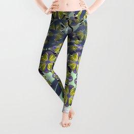 Surf Bali Flower Blue Working Pattern Series Leggings