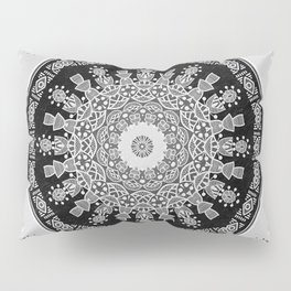 Shades of Grey - Geometric Floral Pattern Pillow Sham