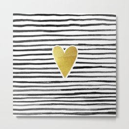 Gold Heart And Black ink abstract horizontal stripes background.  Metal Print