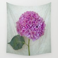 hydrangea Wall Tapestries featuring One Hydrangea by Maria Heyens