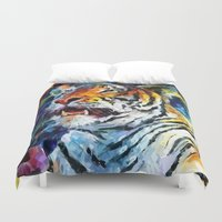 oil Duvet Covers featuring Oil Tiger by Maioriz Home
