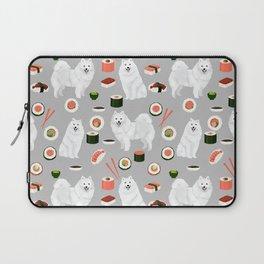 Japanese Spitz sushi kawaii dog portrait custom pet lover pattern by pet friendly Laptop Sleeve