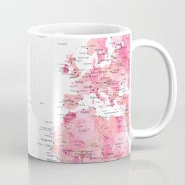Pink detailed watercolor world map with cities Azalea Coffee Mug