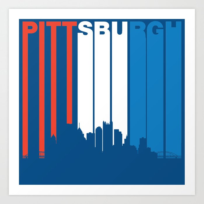 Red White And Blue Pittsburgh Pennsylvania Skyline Art Print By