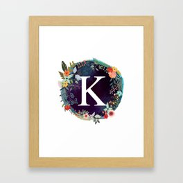 Personalized Monogram Initial Letter K Floral Wreath Artwork Framed Art Print