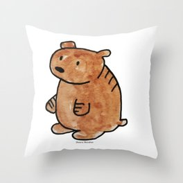 Pudgy Brown Bear Throw Pillow