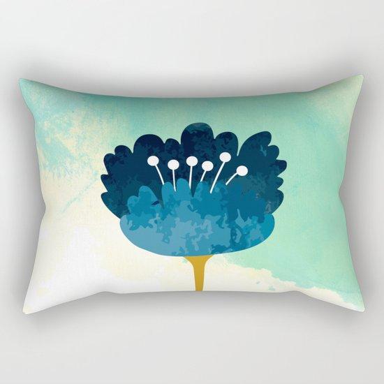 Acuarela Blue Flower Rectangular Pillow